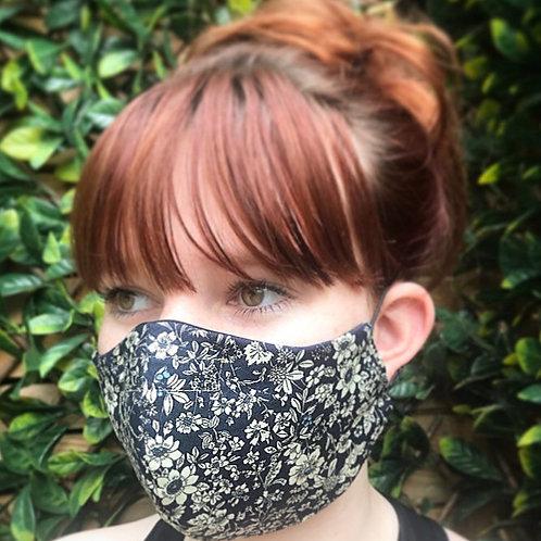 Navy woodland flower face mask