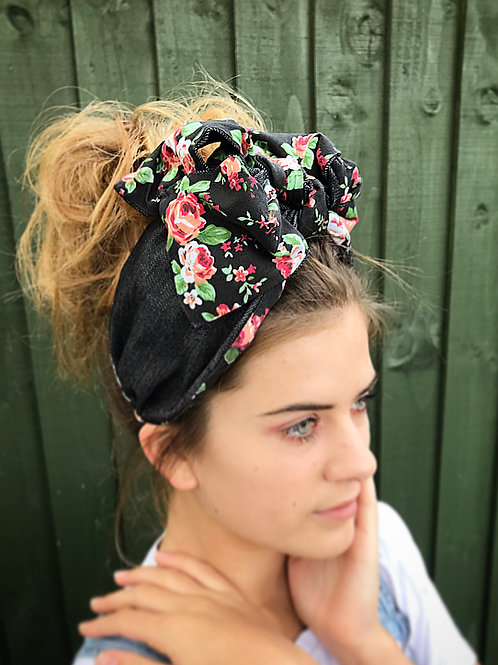 floral denim half turban band