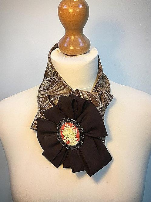 Orange brown cameo cravat