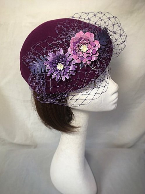 Purple fascinator FH16