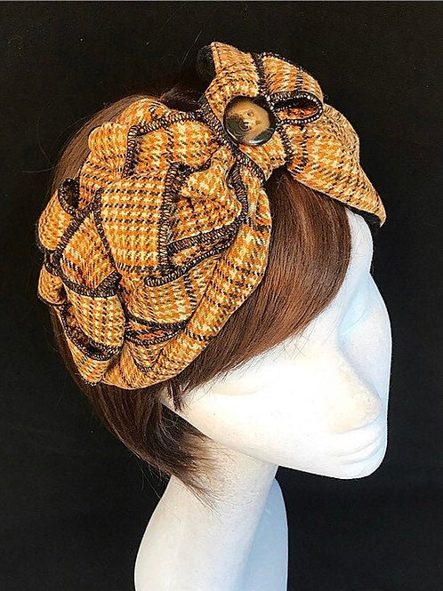 Orange tweed headband TB24