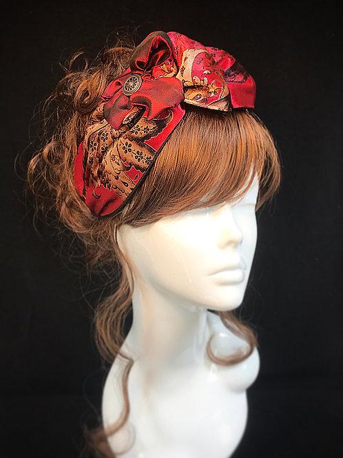 Red velvet deluxe turban band