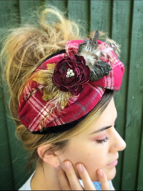 Red tartan corsage turban band
