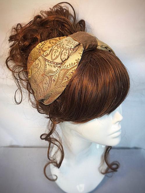 Brown brocade turban band