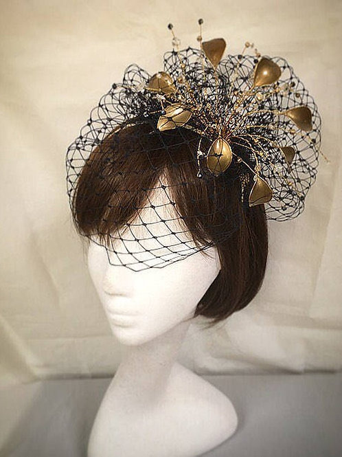 Gold and navy fascinator