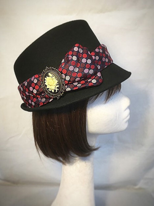 Black vintage trilby hat