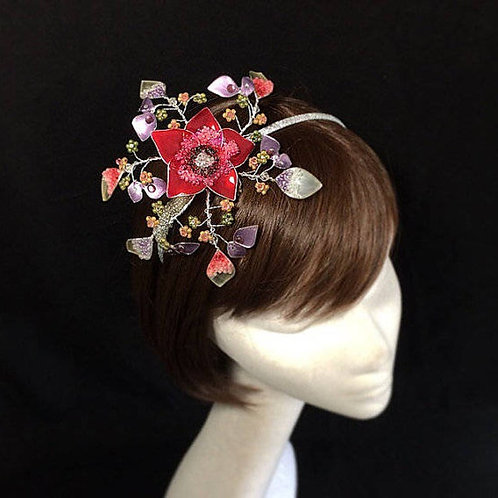 Fuchsia pink fascinator 78