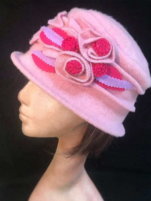 Pink soft wool embellished hat