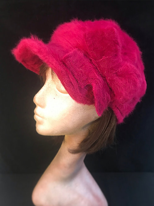 Fuchsia pink Angora cap