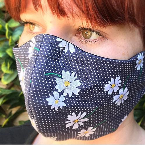Blue daisy print face mask