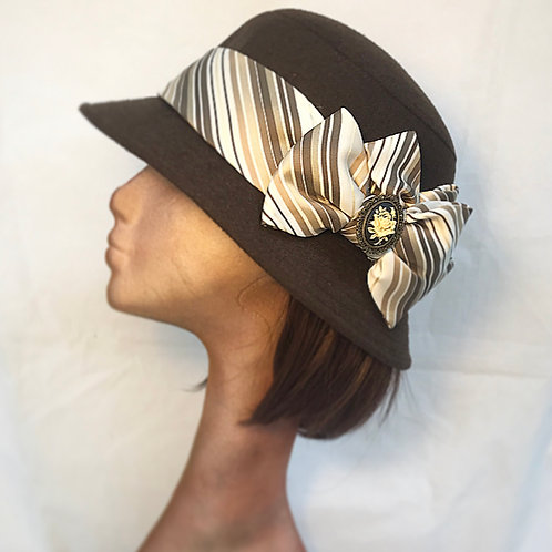 Brown wool cloche hat