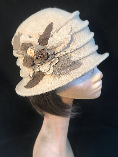 Cream wool soft embellished hat