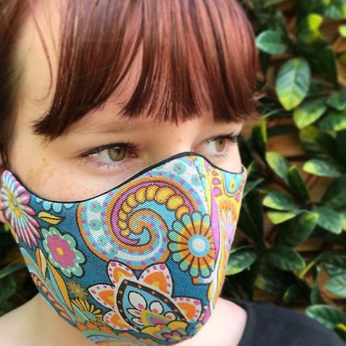 Retro funky paisley face mask