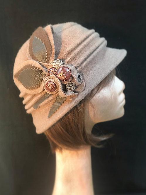 Beige wool soft embellished hat