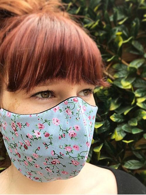 Blue ditsy flower face mask