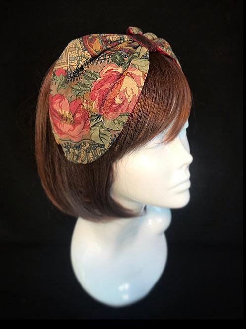 Brown floral vintage turban band