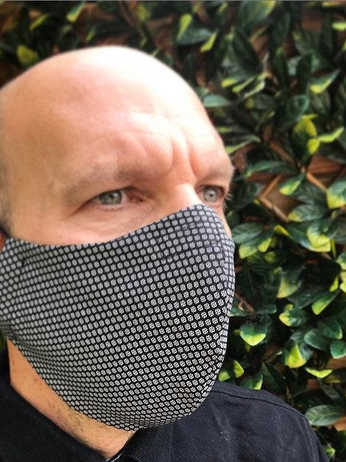 Mans large black white deluxe face mask