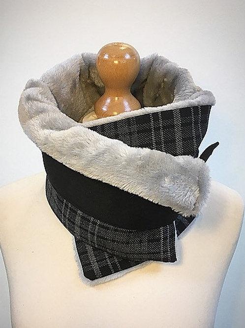 Grey black checked neck warmer