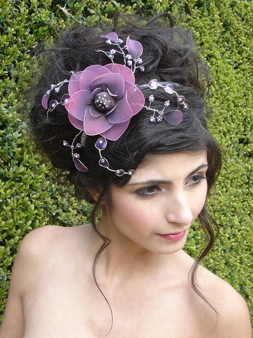 Purple flower fascinator
