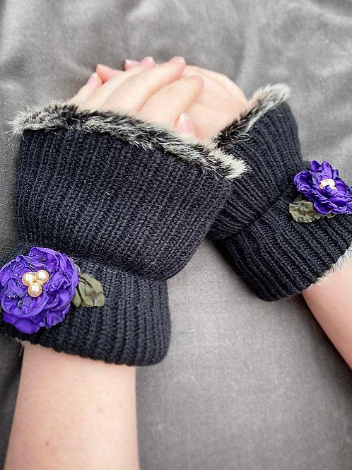 Purple flower reversible wrist warmer