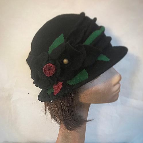 Black embellished wool hat