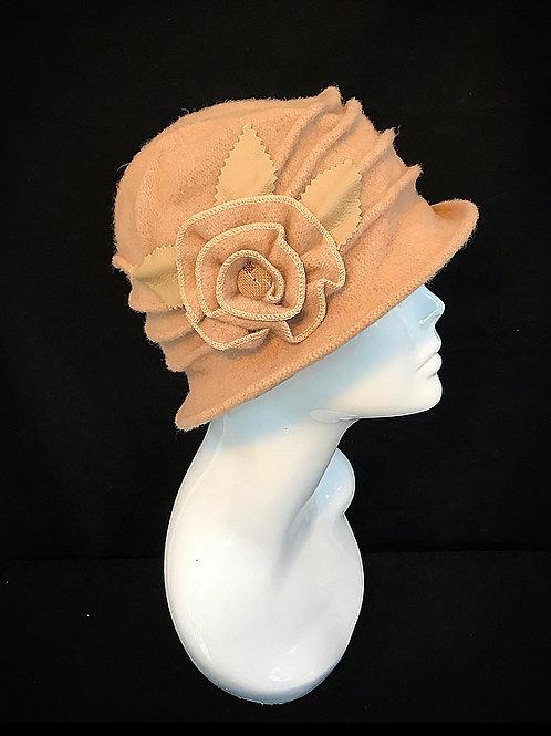 Beige flower corsage hat