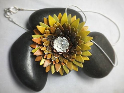 Yellow spiky flower necklace