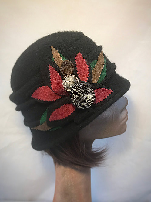 Black wool soft embellished hat