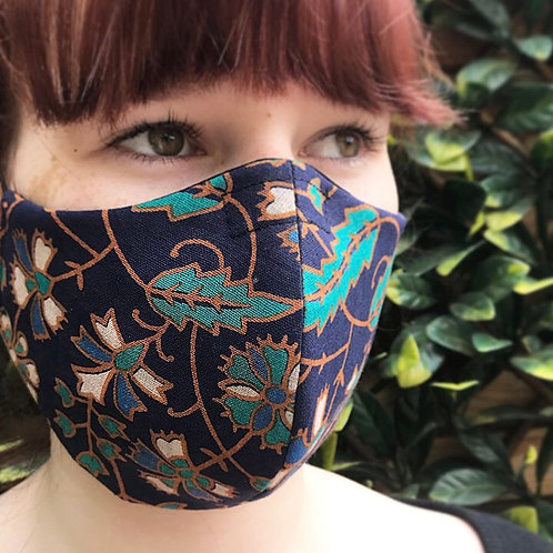 Navy and green vine print face mask