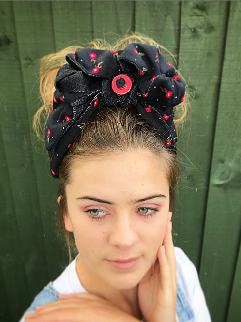 floral red/black turban band