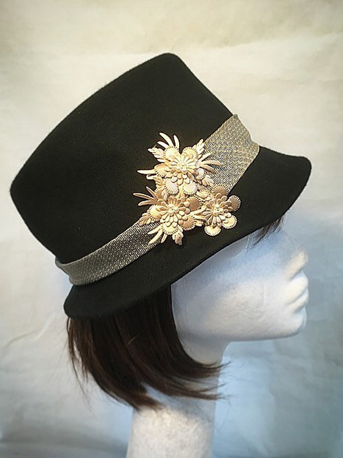 Black trilby hat
