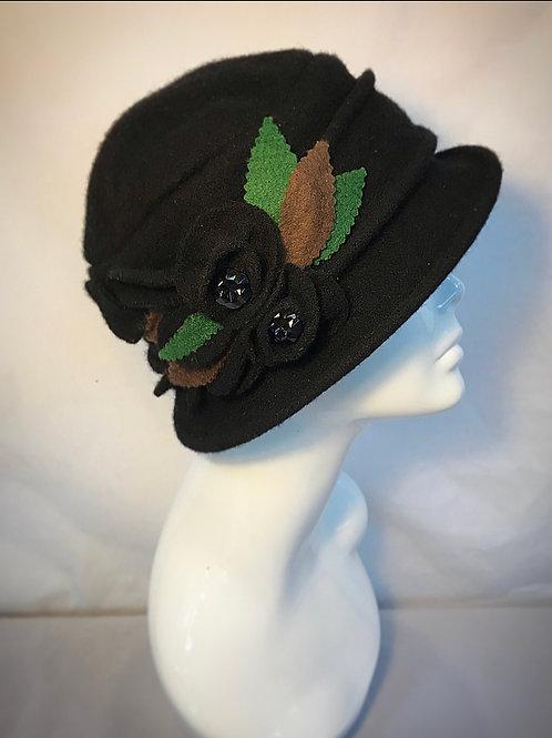 Black downton cloche hat