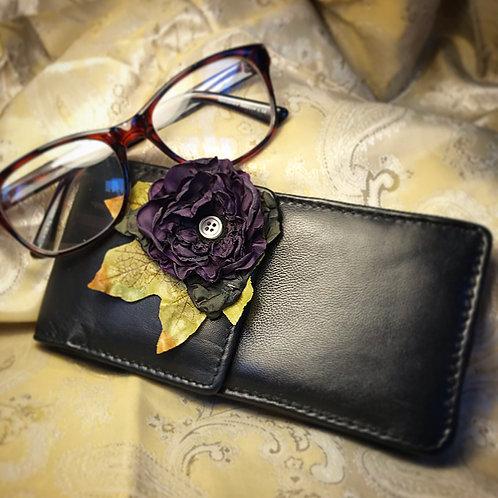 Purple flower glasses case