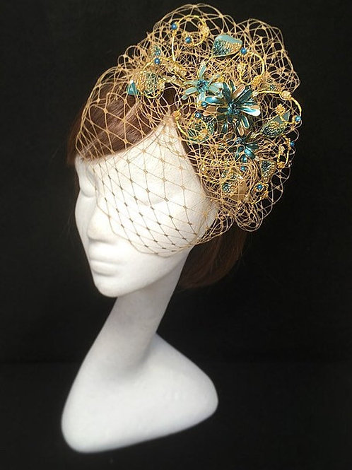 Gold and teal fascinator 66