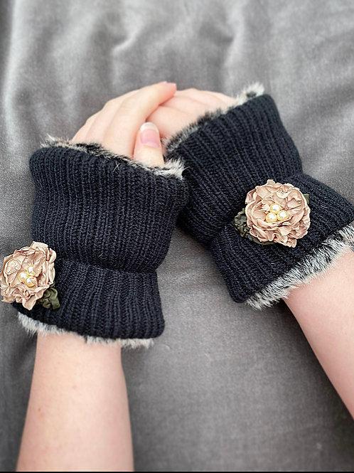 Beige flower reversible wrist warmers