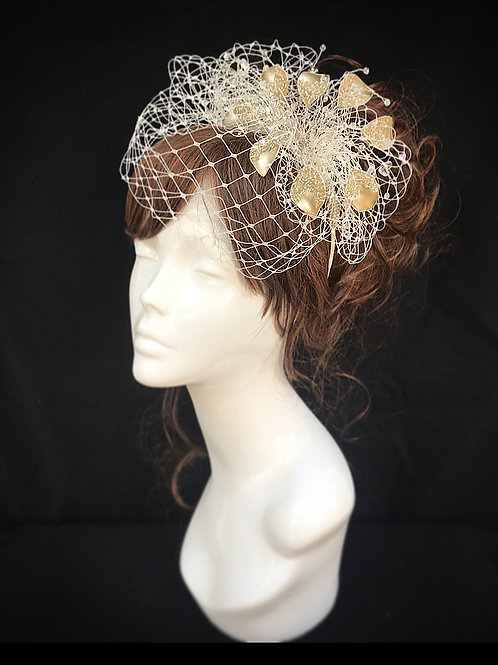 silver and gold veiled fascinator