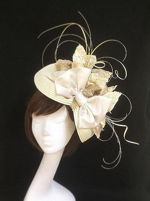 Cream bow wedding hat