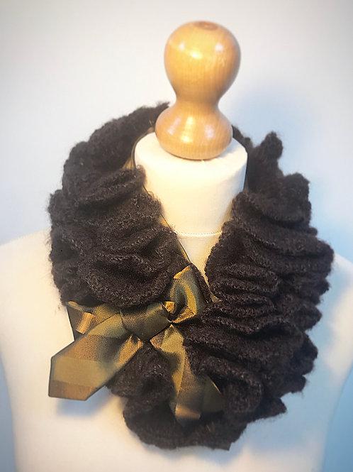 Brown wool ruffle scarf