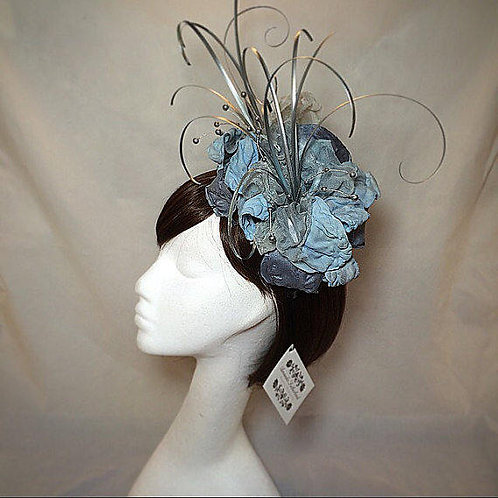 Blue silver fascinator hat 06