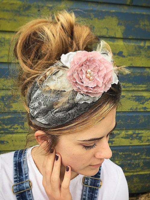 Grey brocade turban