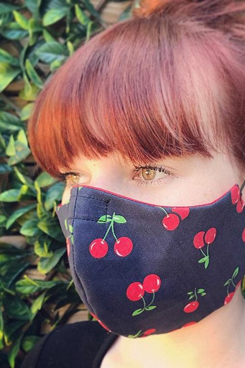Navy cherry face mask
