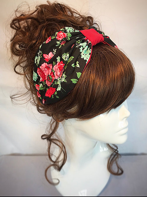 Black red floral headband