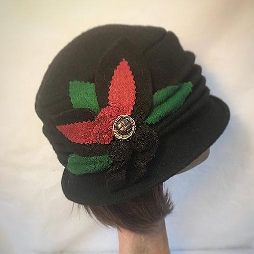 Black embellished soft wool hat