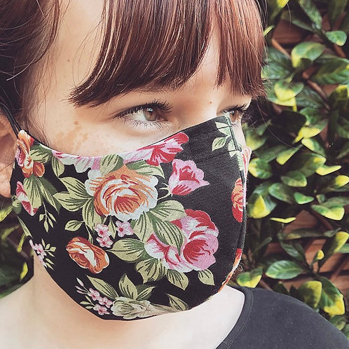 Tropical flower print face mask