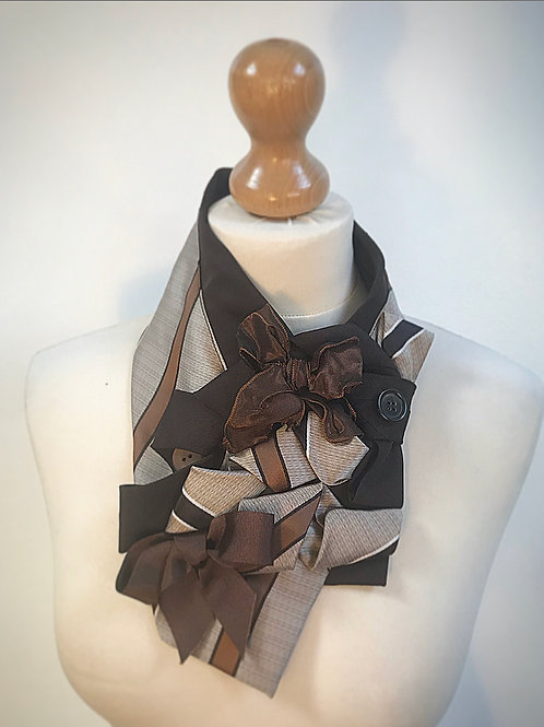 Brown striped ladies cravat