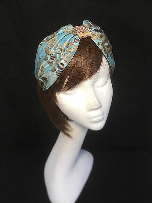 Blue silk turban band CB8