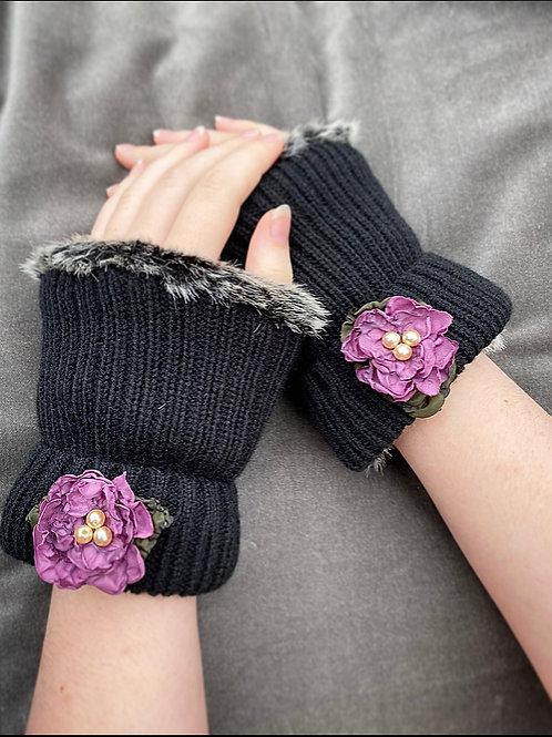 Violet flower reversible wrist warmer