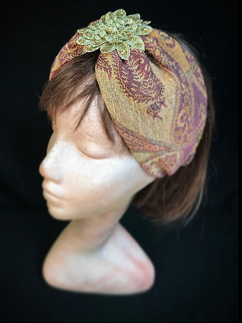 Gold flower metallic turban band