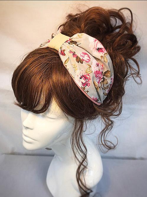 Grey floral turban band