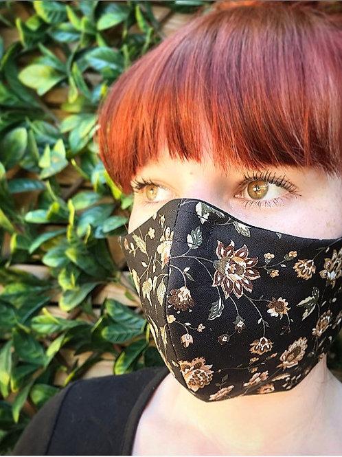 Brown black paisley face mask